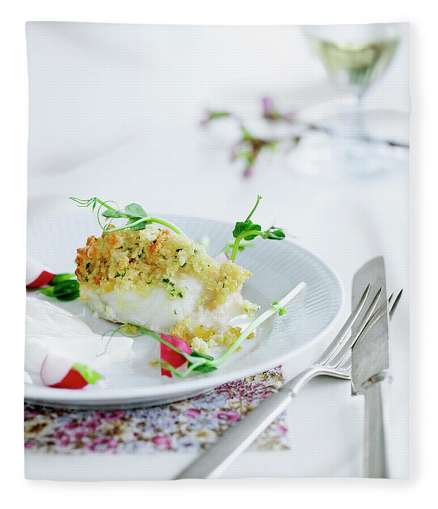 White Background Fleece Blanket featuring the photograph Plate Of Crusted Fish by Line Klein