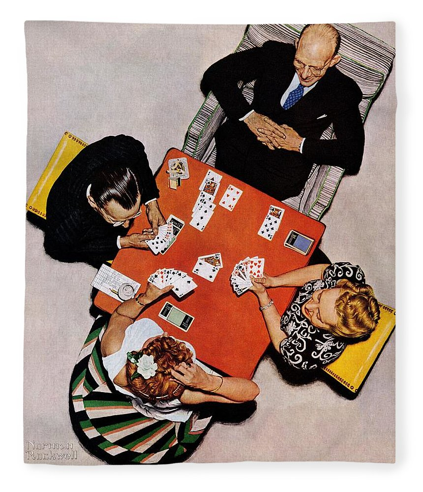 Bridge Fleece Blanket featuring the drawing Playing Cards by Norman Rockwell