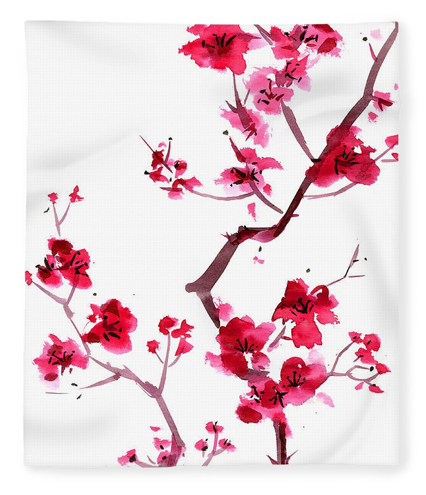 Watercolor Painting Fleece Blanket featuring the digital art Plum Blossom Painting by Kaligraf