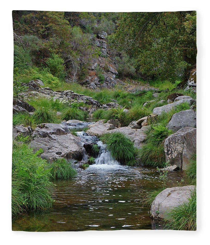Poco Negro Fleece Blanket featuring the photograph Poco Negro River In Carvalhais by Angelo DeVal
