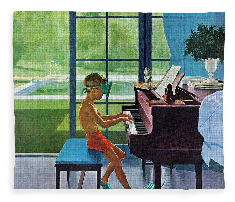 Boy Fleece Blanket featuring the drawing Poolside Piano Practice by George Hughes