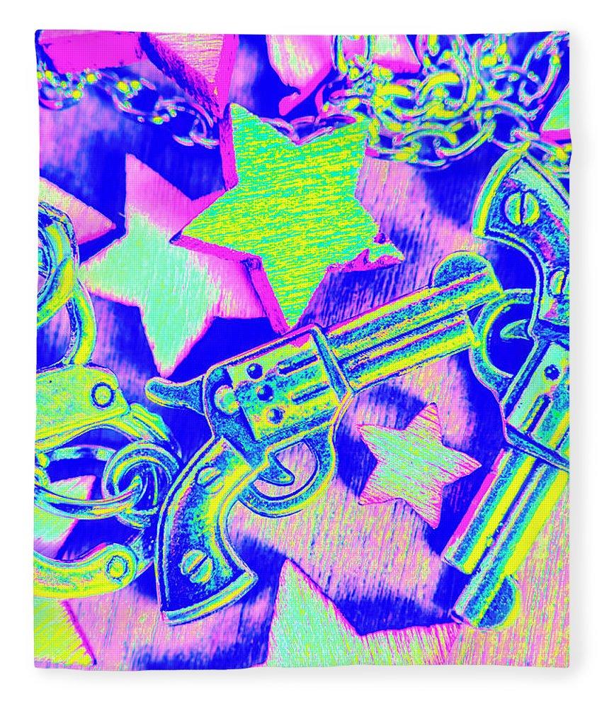 Pistol Fleece Blanket featuring the photograph Pop Art Police by Jorgo Photography - Wall Art Gallery