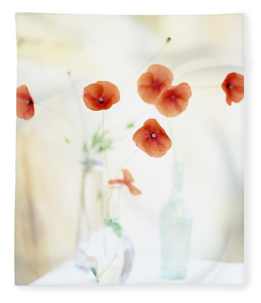 Vase Fleece Blanket featuring the photograph Poppies In Vases by Victoria Pearson