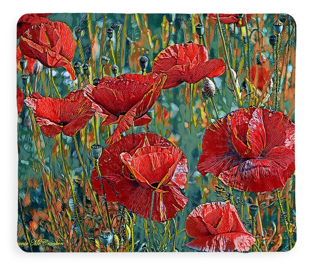 Poppies Fleece Blanket featuring the digital art Poppy Field by Pennie McCracken