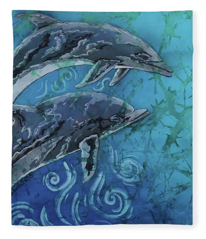 Porpoise Fleece Blanket featuring the painting Porpoise Pair - Close Up by Sue Duda