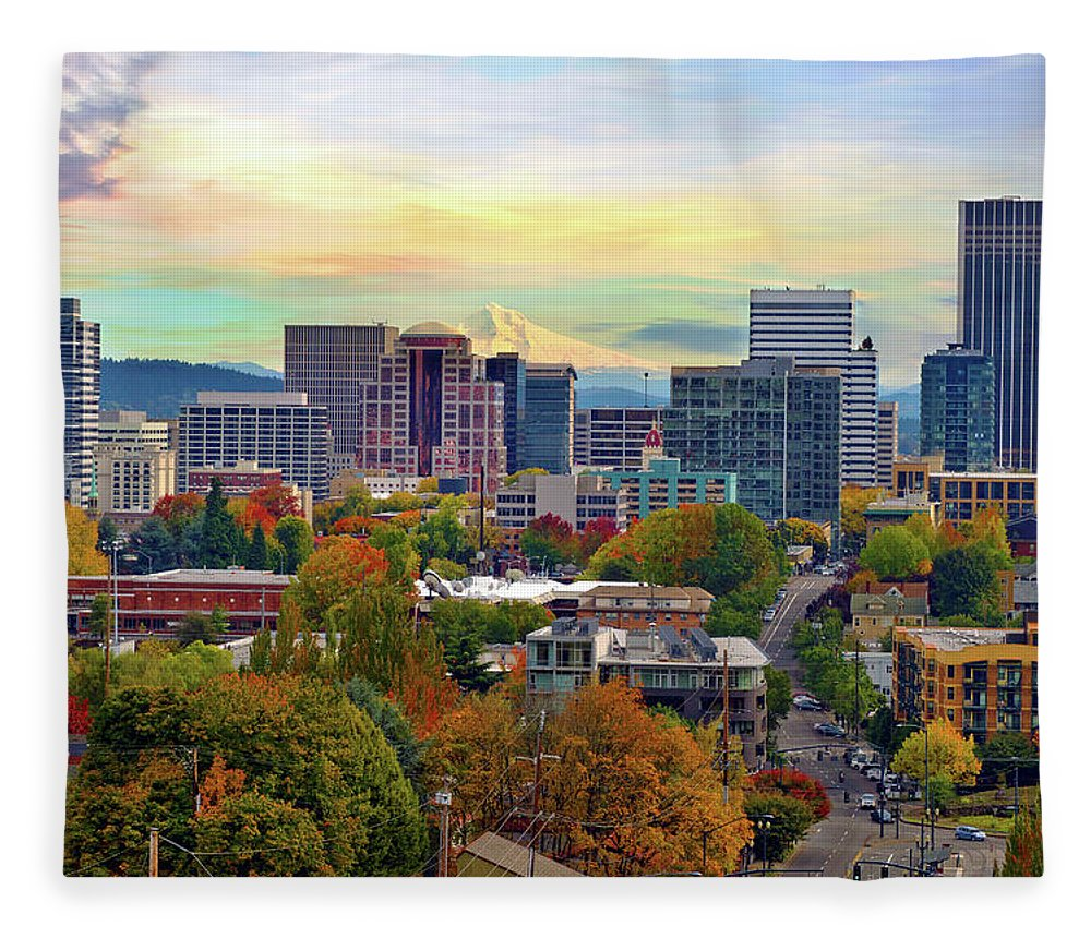 Viewpoint Fleece Blanket featuring the photograph Portland Oregon Downtown Cityscape In by David Gn Photography