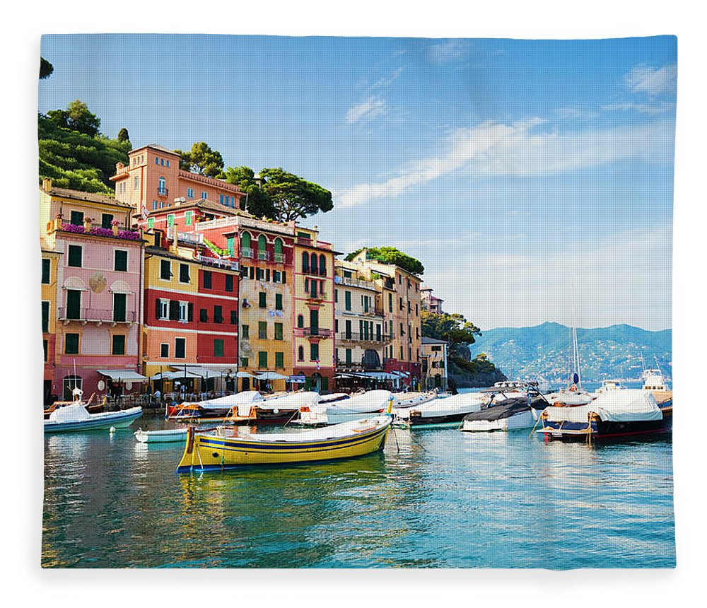 Water's Edge Fleece Blanket featuring the photograph Portofino, Liguria, Italy by Brzozowska