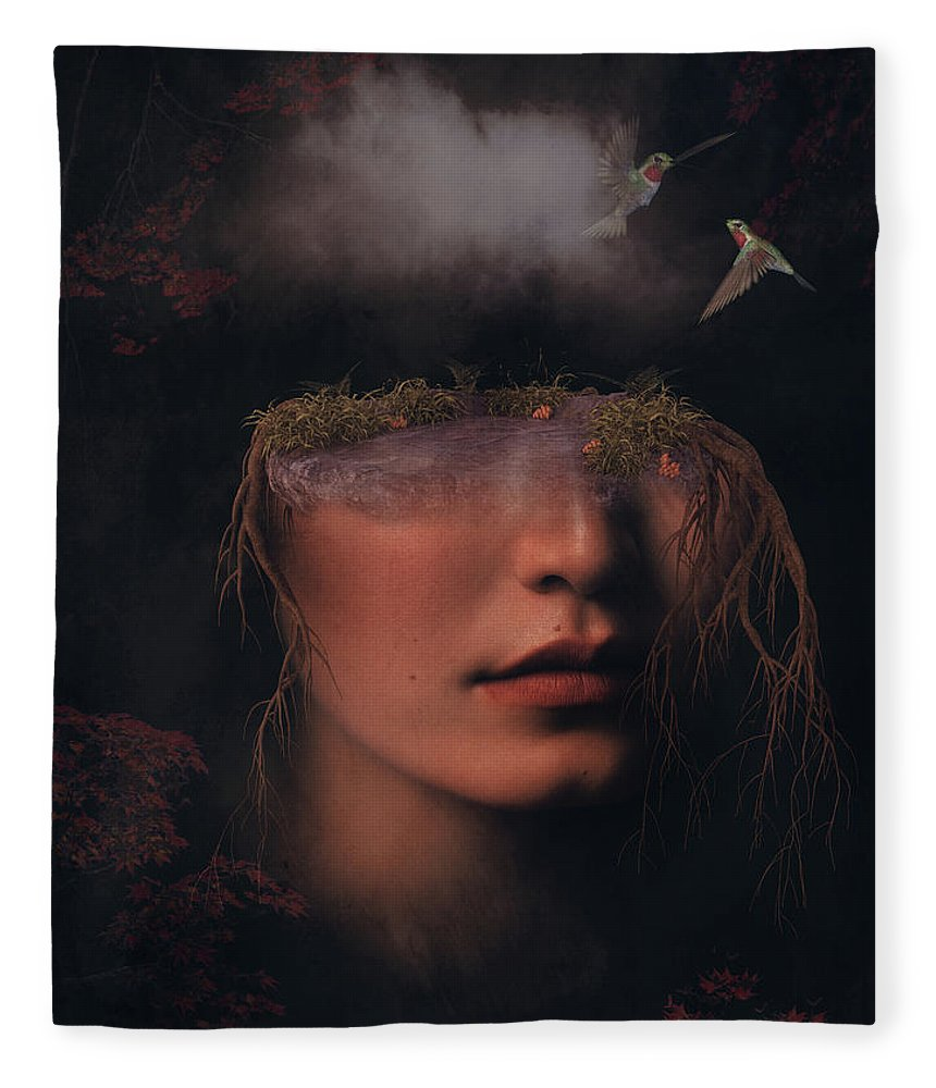 Surreal Fleece Blanket featuring the digital art Portrait With Hummingbirds by Mihaela Pater