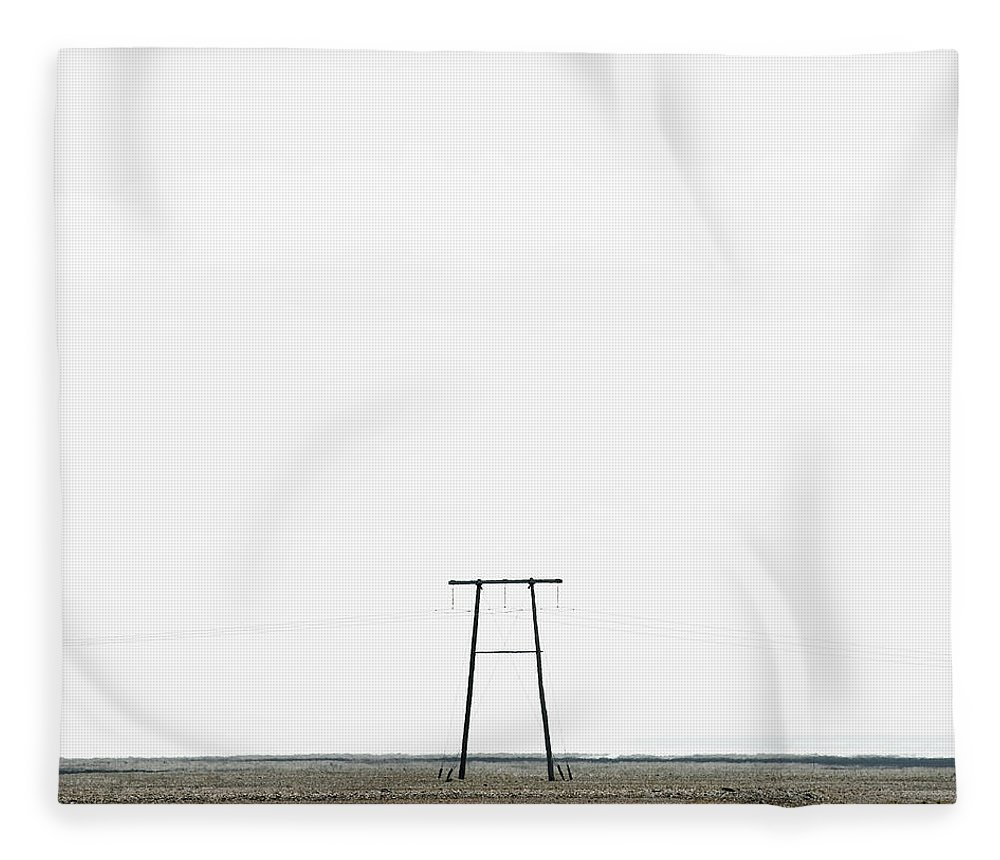 Clear Sky Fleece Blanket featuring the photograph Powerline In Landscape by Roine Magnusson