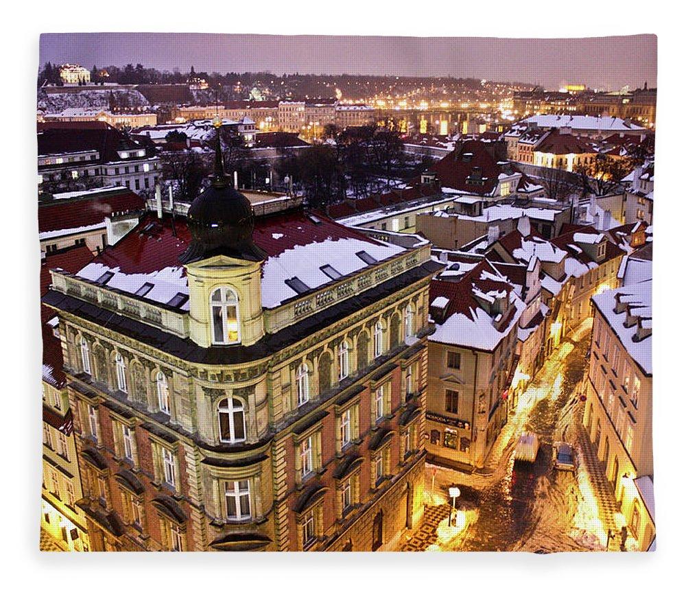 Snow Fleece Blanket featuring the photograph Prague Lights by Usman Baporia