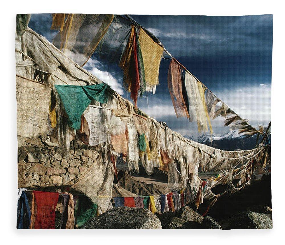 Himalayas Fleece Blanket featuring the photograph Prayer Flags Above Leh, Ladakh, Leh by Richard I'anson