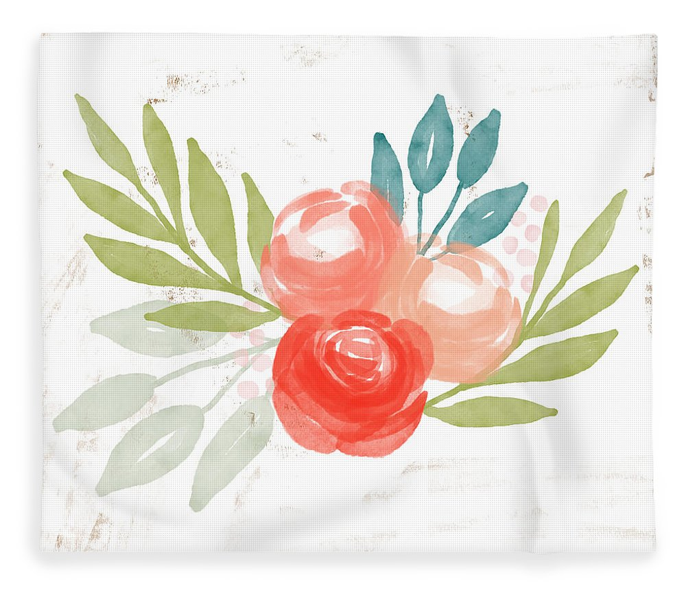 Roses Fleece Blanket featuring the mixed media Pretty Coral Roses - Art By Linda Woods by Linda Woods