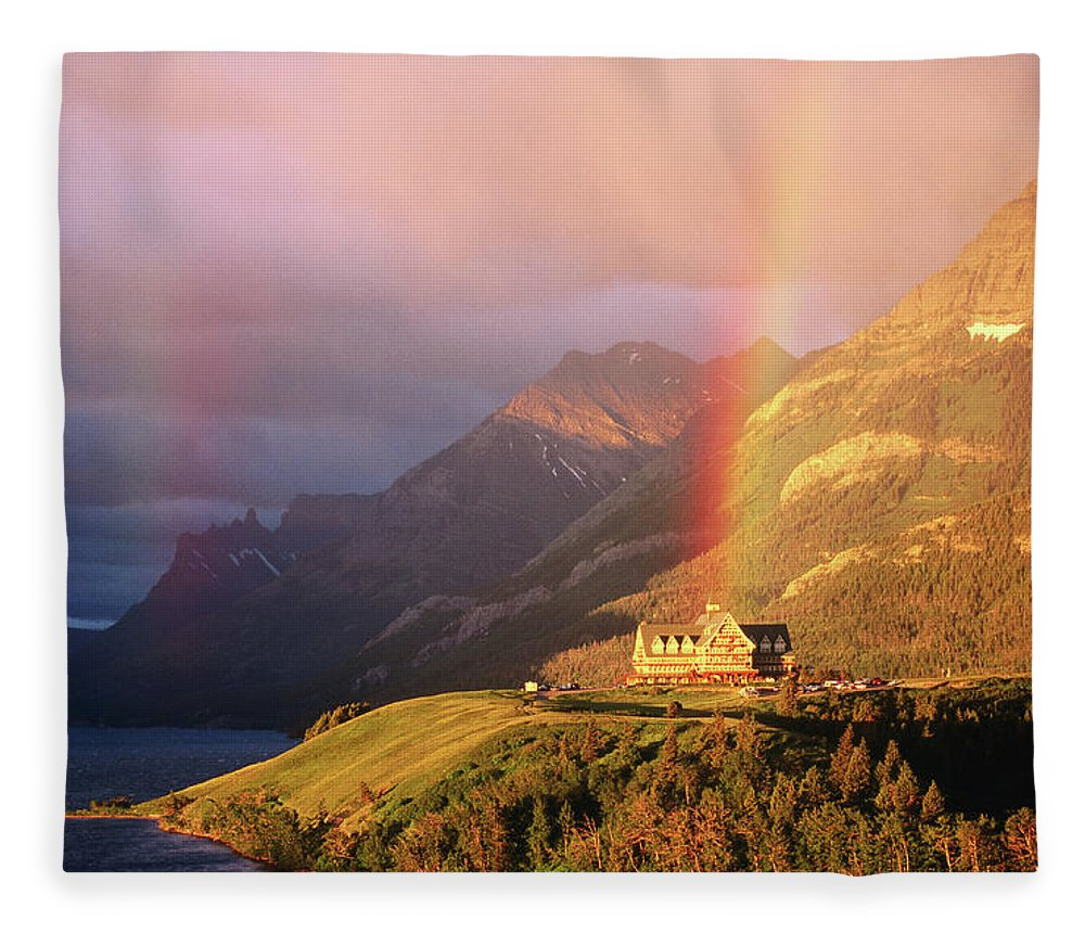 Scenics Fleece Blanket featuring the photograph Prince Of Wales Hotel, At The End Of A by John Elk