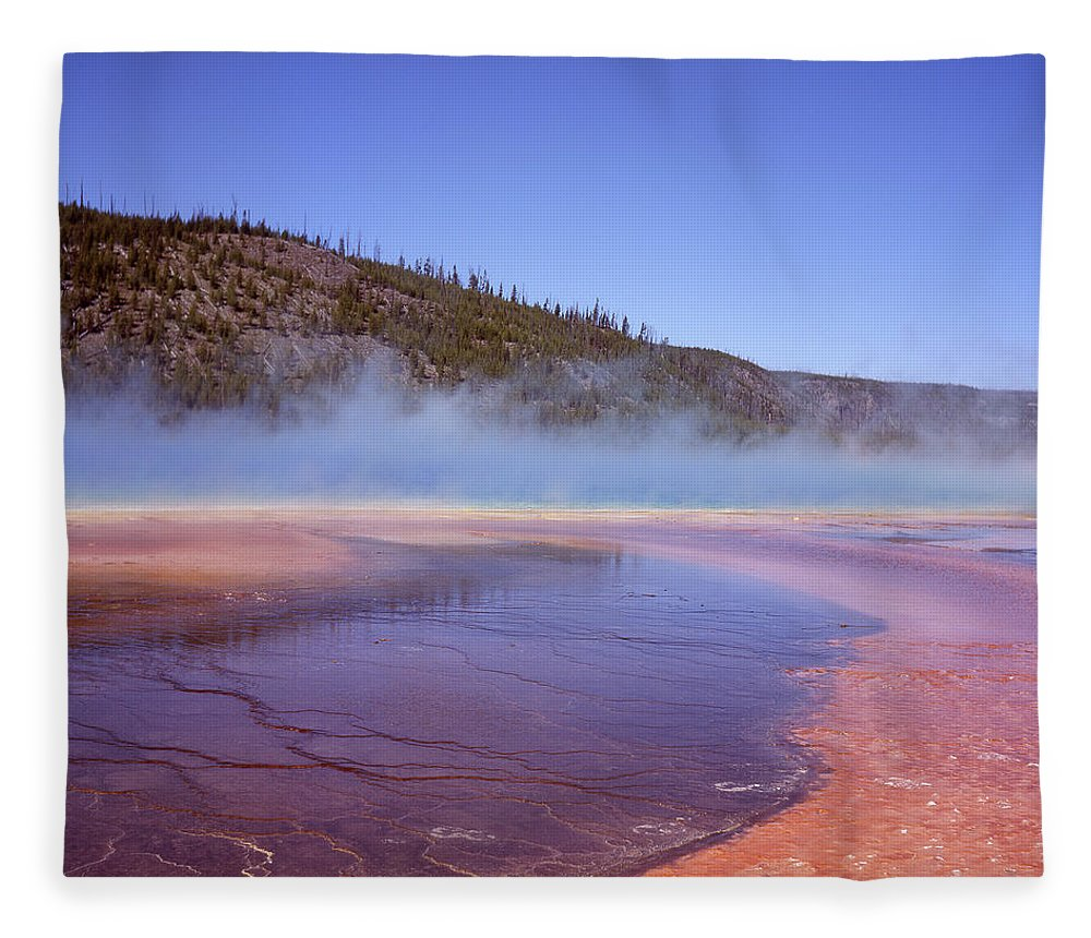 Tranquility Fleece Blanket featuring the photograph Prismatic Spring Algae by L. Maile Smith