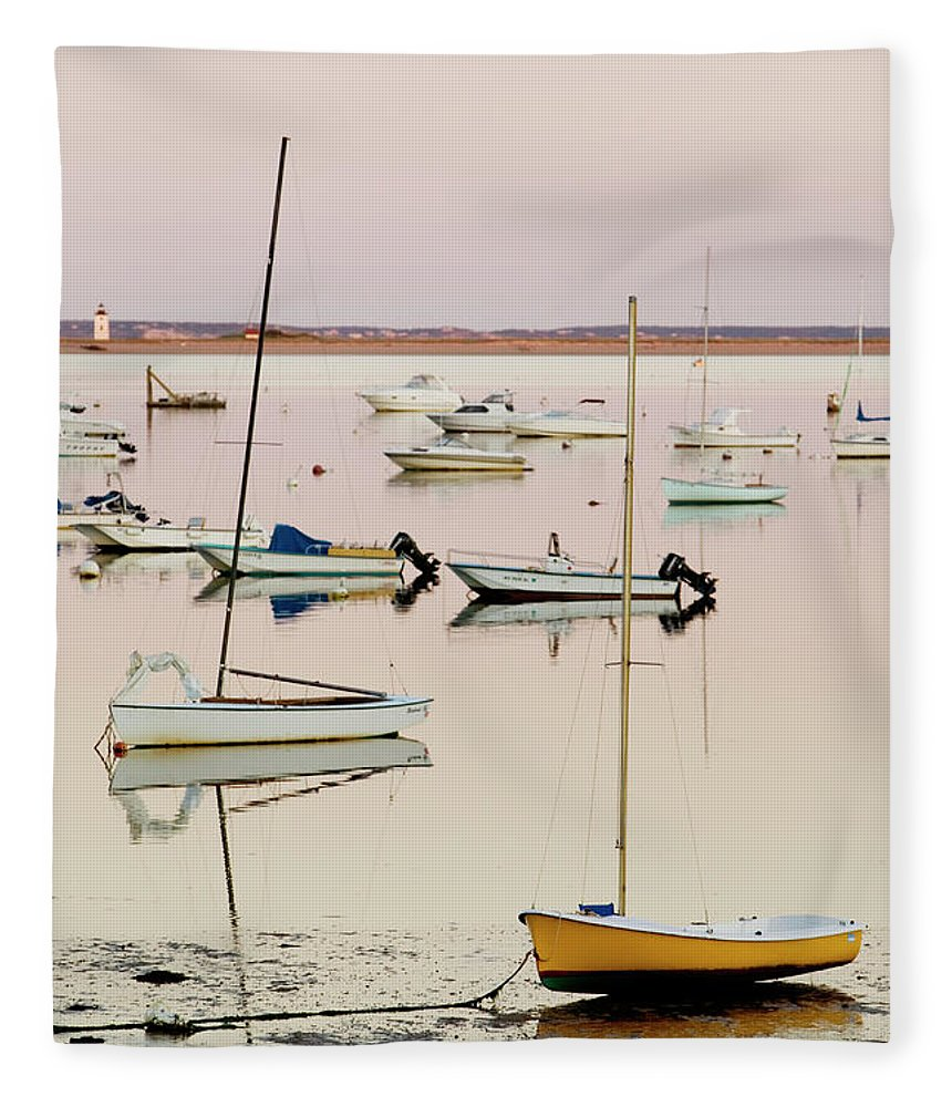 Sailboat Fleece Blanket featuring the photograph Provincetown Harbor by Walter Bibikow