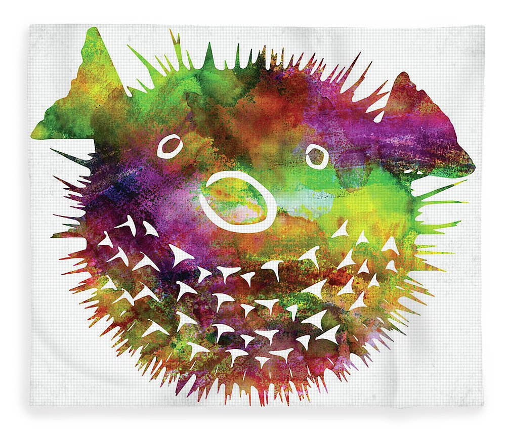 Fish Fleece Blanket featuring the digital art Puffer Fish Face Watercolor by Mihaela Pater