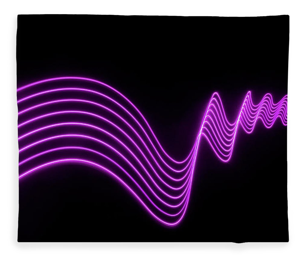 Laser Fleece Blanket featuring the photograph Purple Abstract Lights Trails And by John Rensten