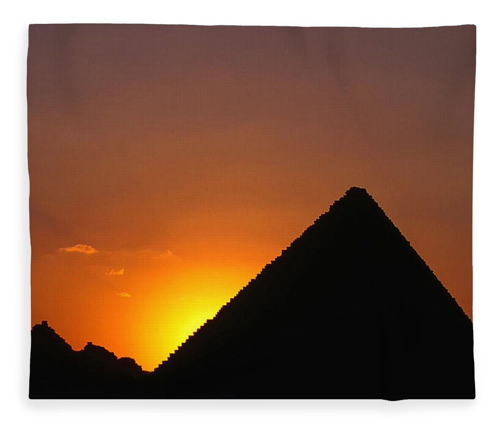 Orange Color Fleece Blanket featuring the photograph Pyramid Of Mycerinus At Giza At Sunset by Anders Blomqvist