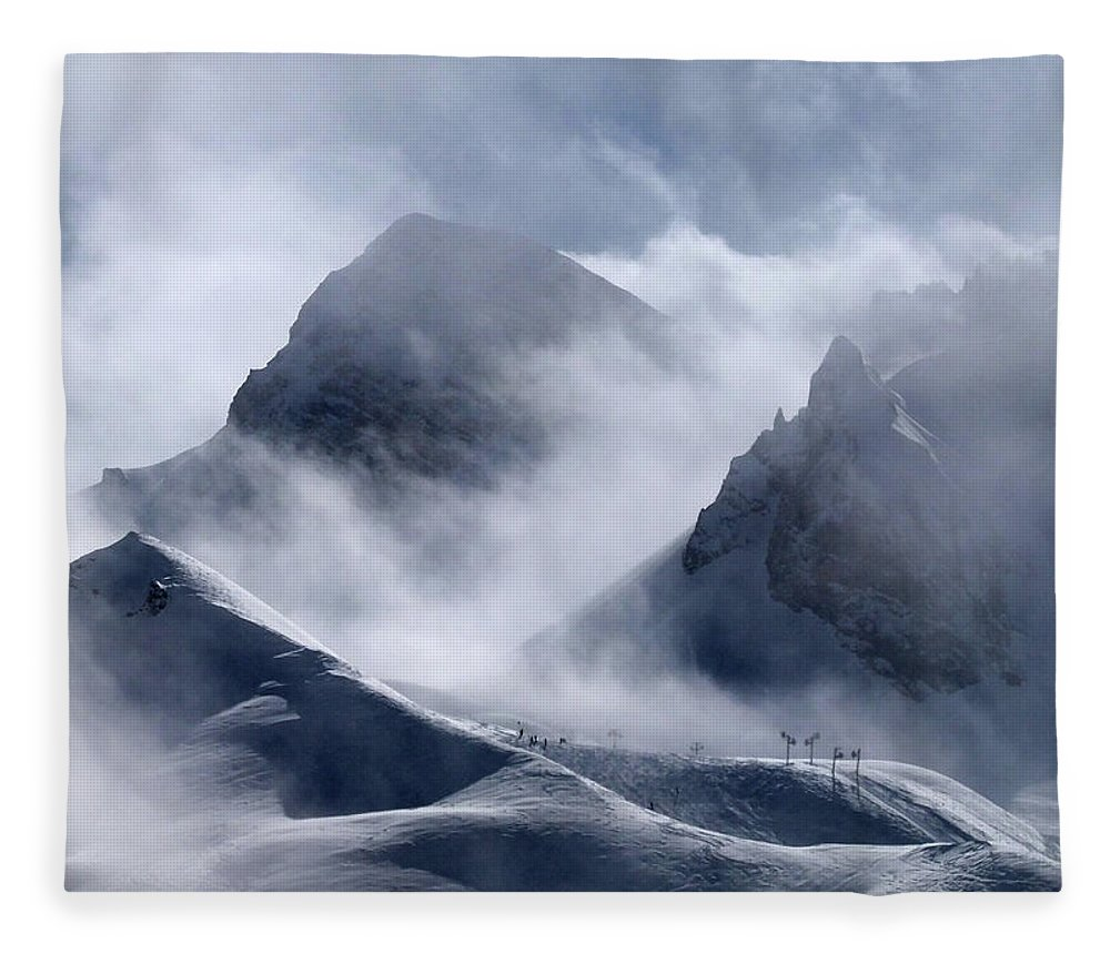 Scenics Fleece Blanket featuring the photograph Pyramide And Roc Merlet In Courchevel by Niall Corbet @ Www.flickr/photos/niallcorbet