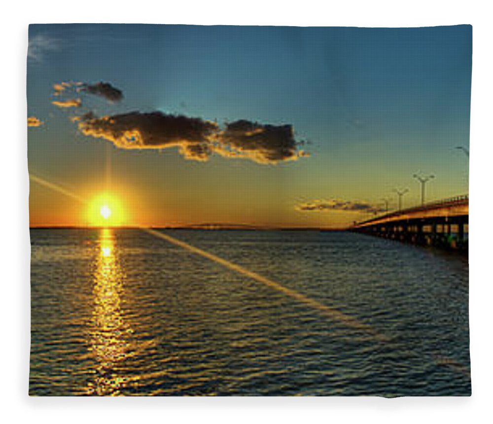 Panoramic Fleece Blanket featuring the photograph Queen Isabella Causeway by Joshua Bozarth