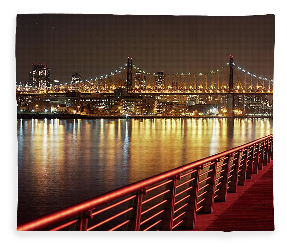 Built Structure Fleece Blanket featuring the photograph Queensboro Bridge At Night by Allan Baxter