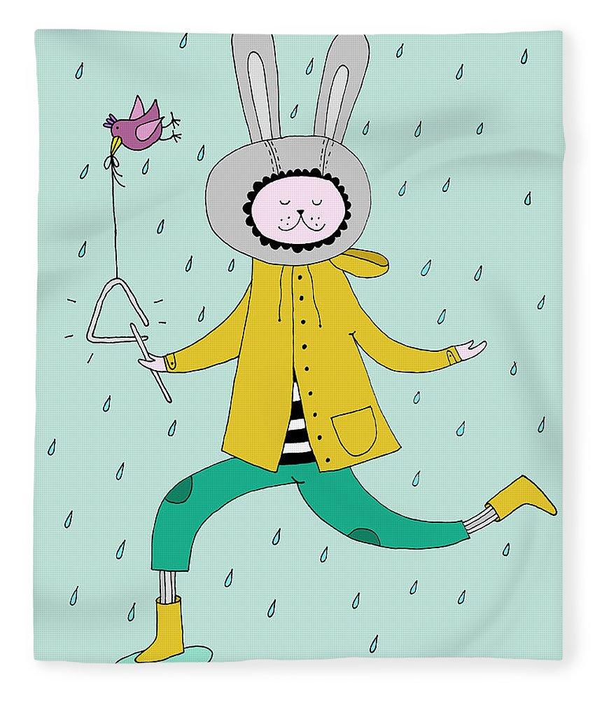 Animal Themes Fleece Blanket featuring the digital art Rabbit In Rain by Kristina Timmer