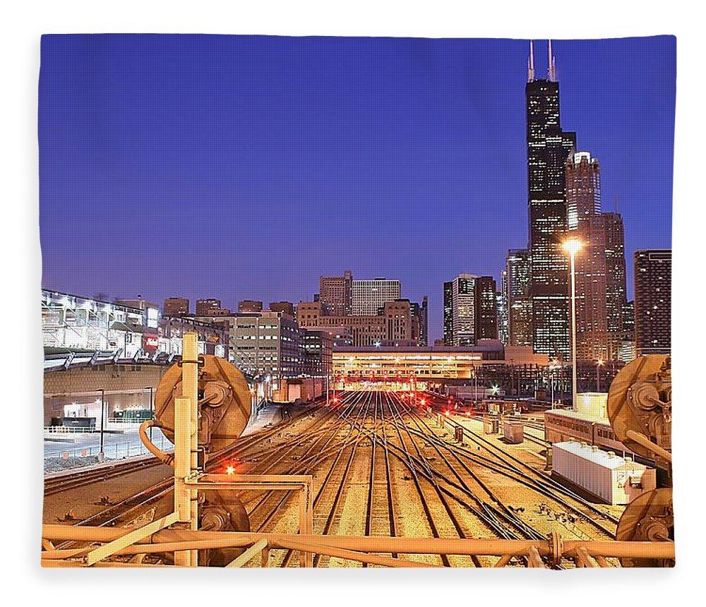 Railroad Track Fleece Blanket featuring the photograph Rail Tracks by Joseph Balynas