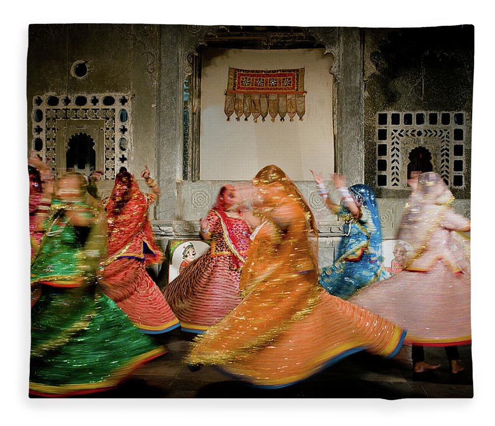 People Fleece Blanket featuring the photograph Rajasthani Dances by Ania Blazejewska