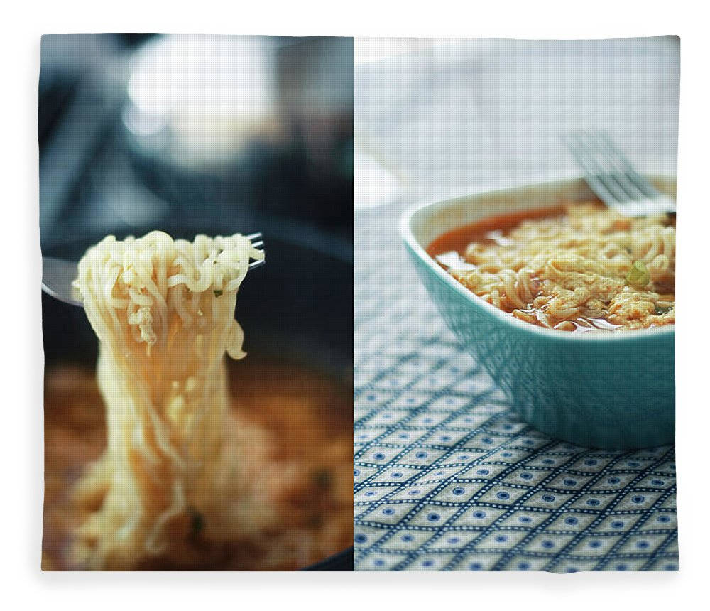 Kitchen Fleece Blanket featuring the photograph Ramen Noodles Diptych by Alice Gao Photography