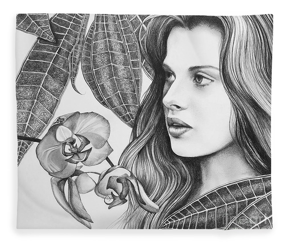 Rappacini's Daughter Fleece Blanket featuring the drawing Rappacini's Daughter by Hunter Jay