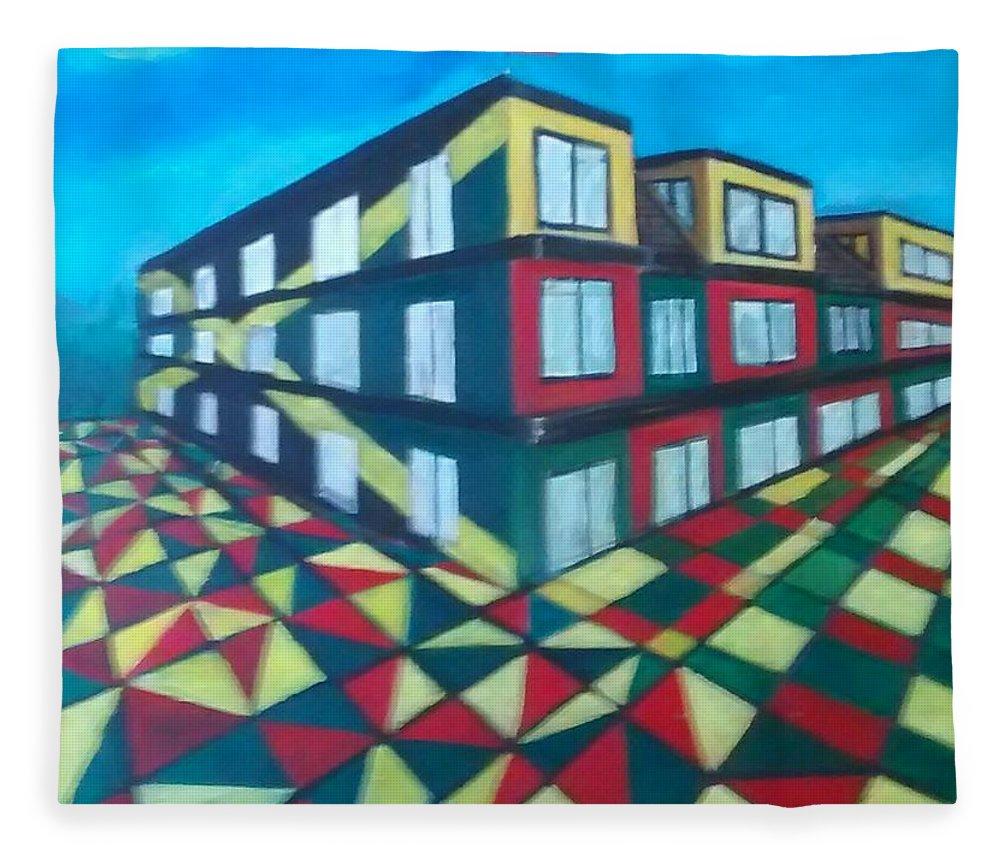 Rasta Art Fleece Blanket featuring the painting Rasta Academy by Andrew Johnson