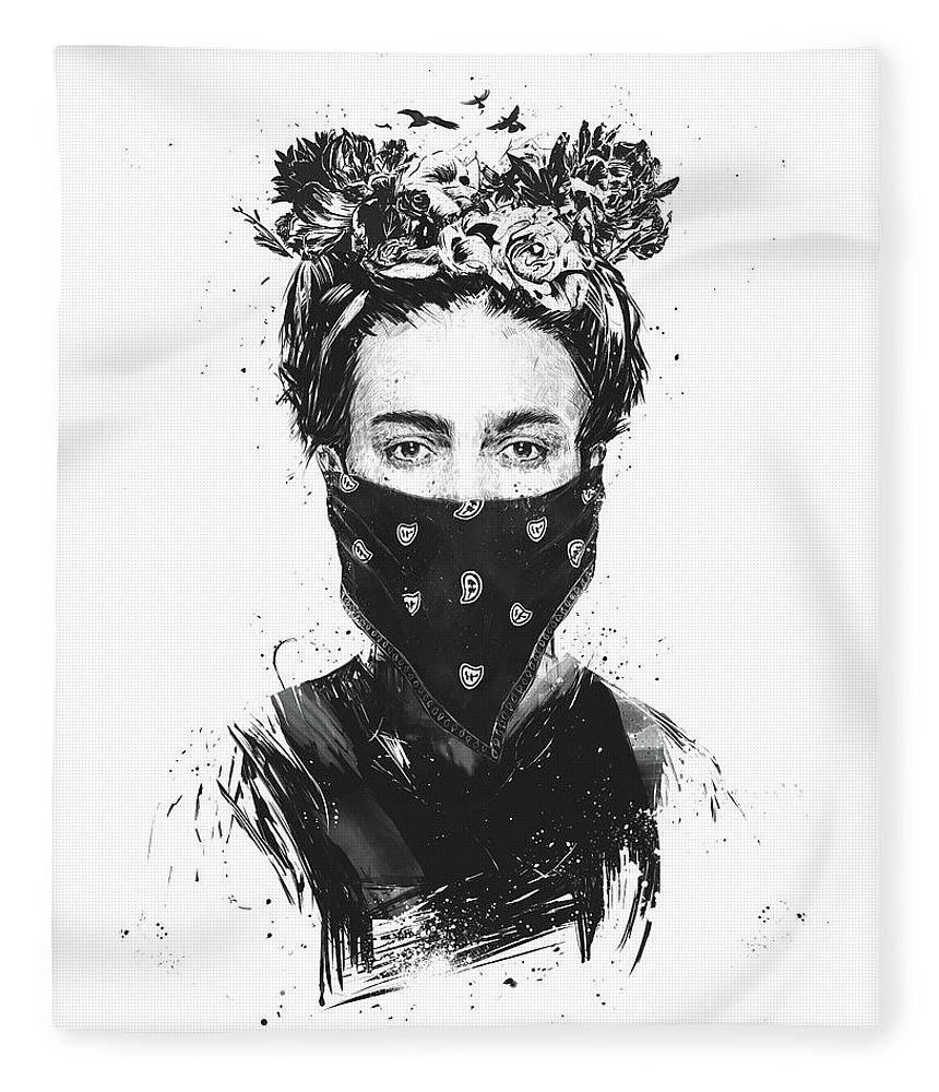 Girl Fleece Blanket featuring the drawing Rebel girl by Balazs Solti
