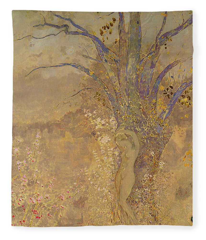 Odilon Redon Fleece Blanket featuring the painting Rebirth, Spring, 1908 by Odilon Redon