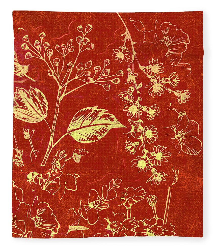 Illustration Fleece Blanket featuring the photograph Red Blossoms by Jorgo Photography - Wall Art Gallery