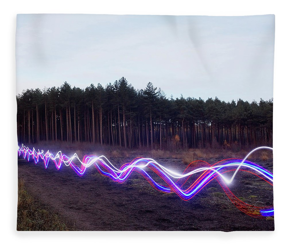 Internet Fleece Blanket featuring the photograph Red, Blue And White Light Trails On by Tim Robberts
