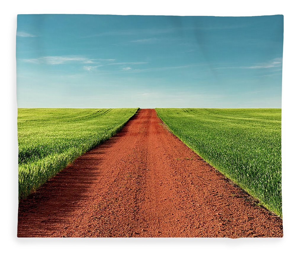 Red Fleece Blanket featuring the photograph Red Gravel Road by Todd Klassy