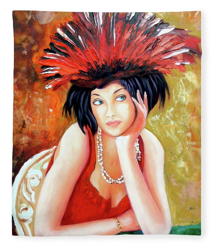 Women Fleece Blanket featuring the painting Red Hat by Jose Manuel Abraham