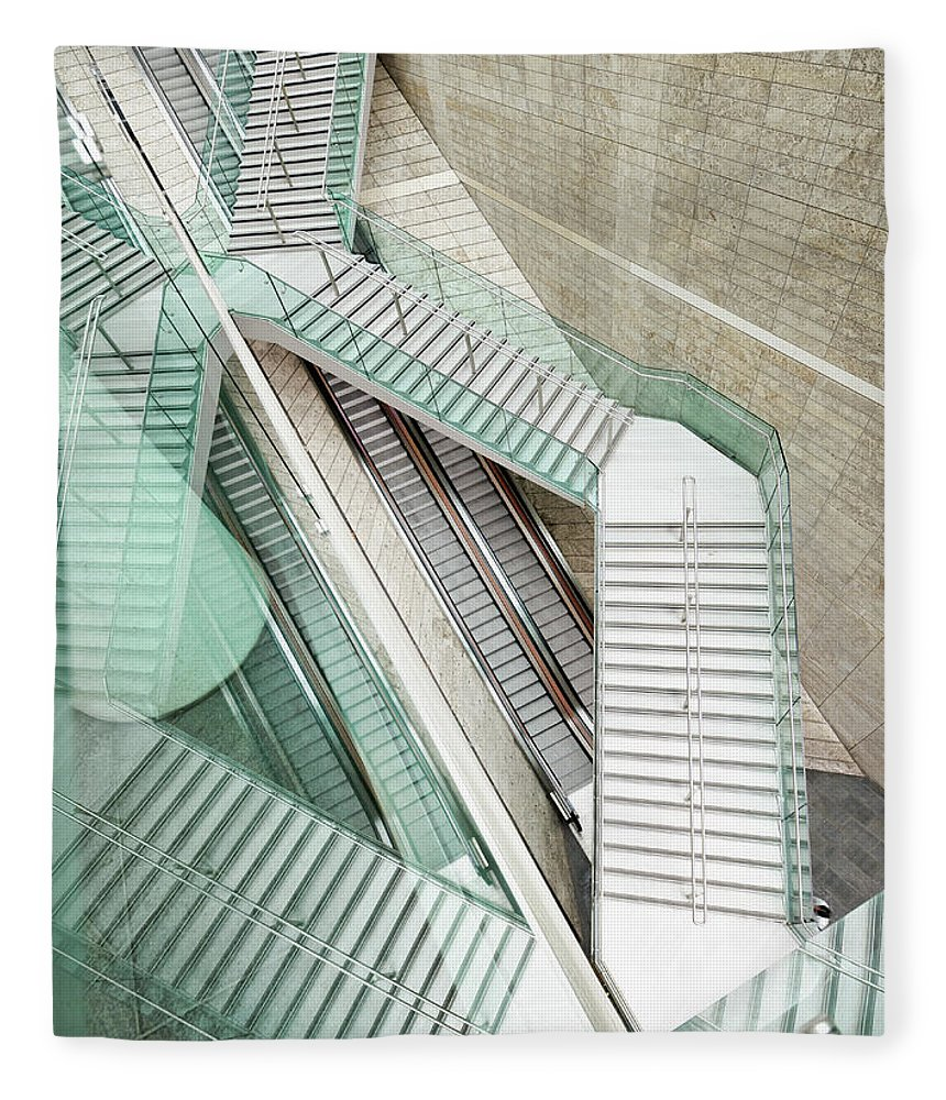 Long Fleece Blanket featuring the photograph Reflected Modern Architecture - Winding by Georgeclerk