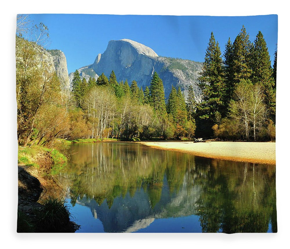 Scenics Fleece Blanket featuring the photograph Reflections Of Half Dome by Sandy L. Kirkner