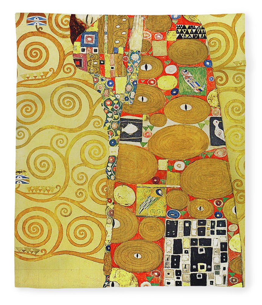 Wingsdomain Fleece Blanket featuring the photograph Remastered Art Preparatory Design Stoclet Palace Frieze By Gustav Klimt 20190215 by Wingsdomain Art and Photography