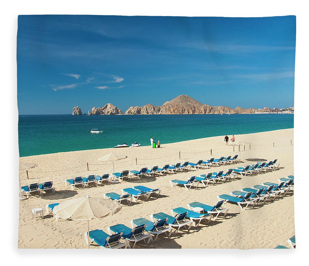 Water's Edge Fleece Blanket featuring the photograph Resort Beach Chairs by Christopher Kimmel
