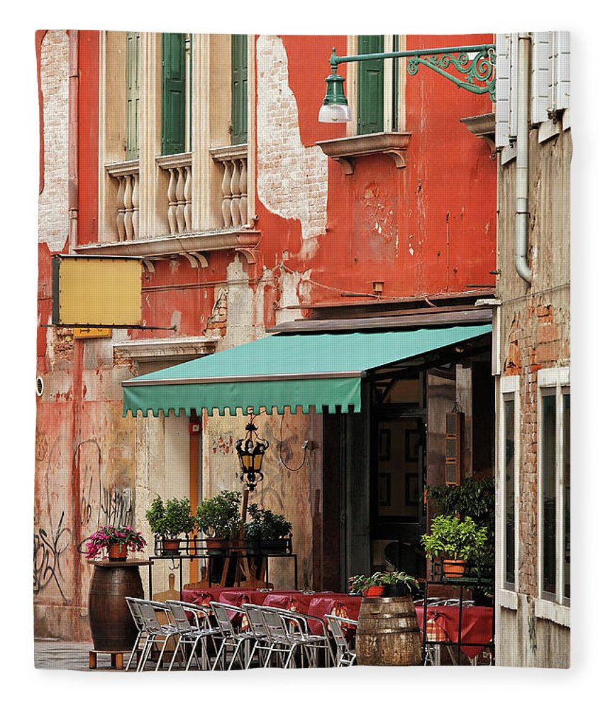Empty Fleece Blanket featuring the photograph Restaurant In Venice by Mammuth