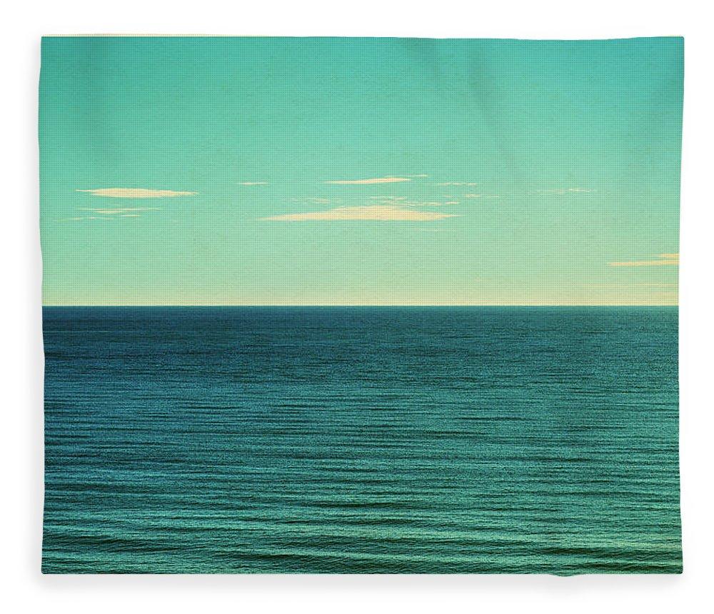 Scenics Fleece Blanket featuring the photograph Retro Seascape Postcard by Farukulay