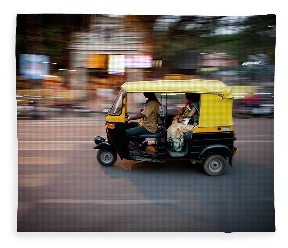 People Fleece Blanket featuring the photograph Rickshaw by Javi Julio Photography
