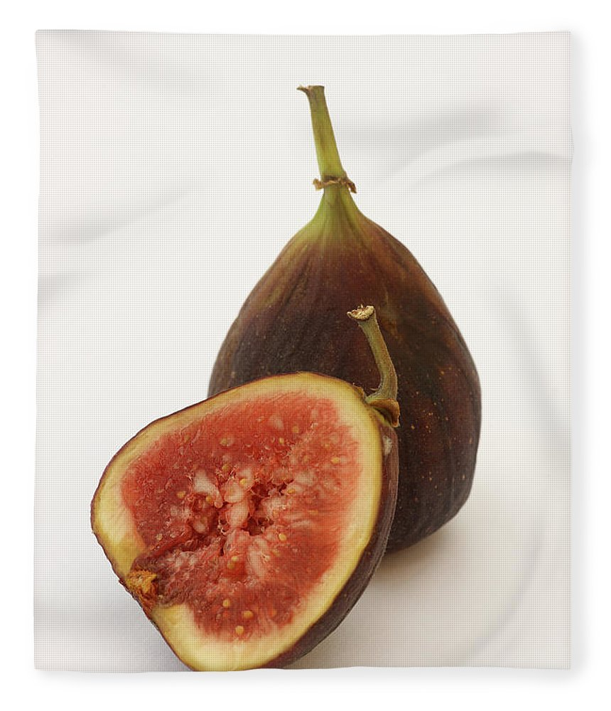 White Background Fleece Blanket featuring the photograph Ripe, Fresh Figs On White Background by Rosemary Calvert