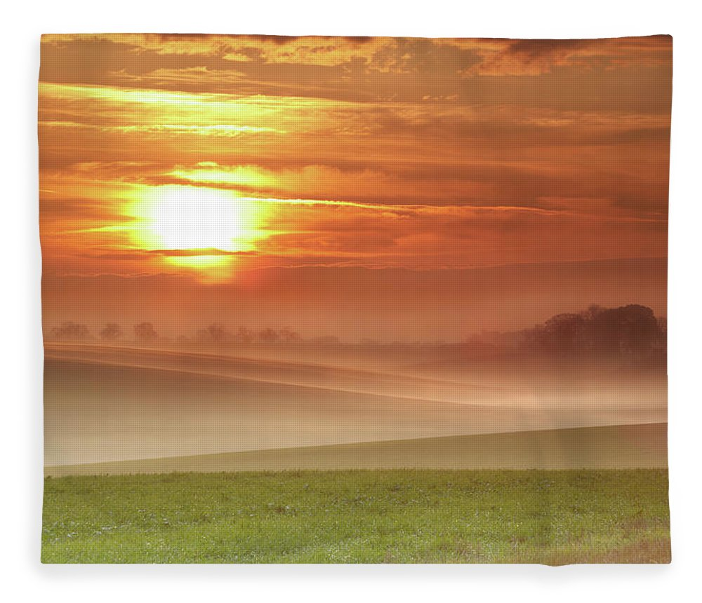 Tranquility Fleece Blanket featuring the photograph Ripples In Mist by Andy Freer