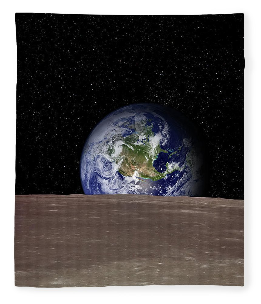 Landscape Fleece Blanket featuring the photograph Rising Earth Over Moon Surface by Photovideostock