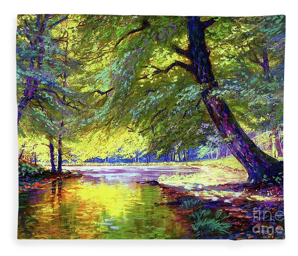 Forest Fleece Blanket featuring the painting River Of Gold by Jane Small