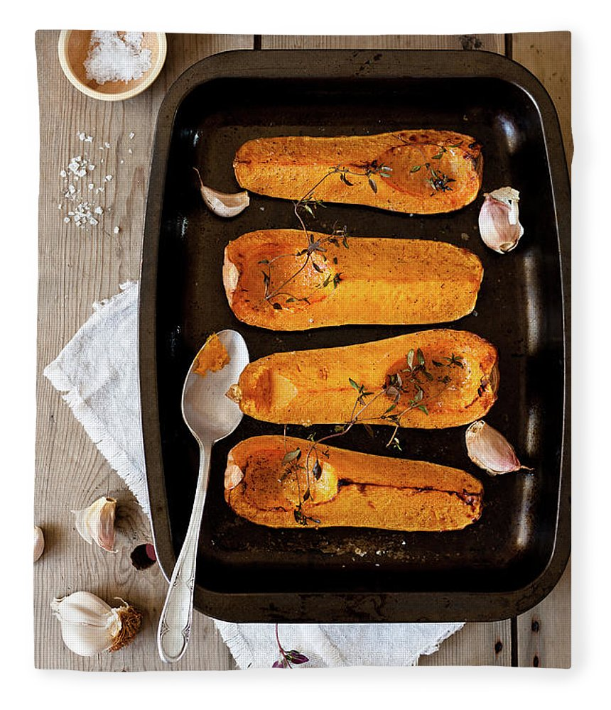 Spoon Fleece Blanket featuring the photograph Roasted Butternut Squash by Sarka Babicka