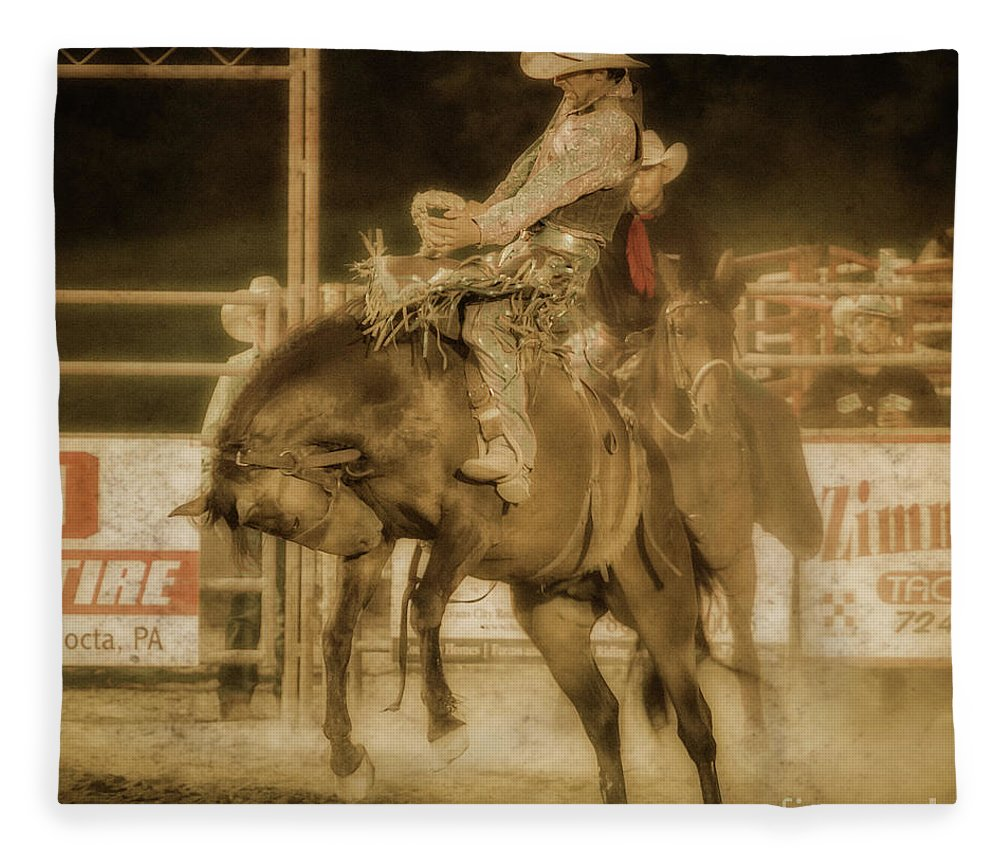Rodeo Rider Bronco Busting Fleece Blanket featuring the digital art Rodeo Rider Bronco Busting Sepia One by Randy Steele